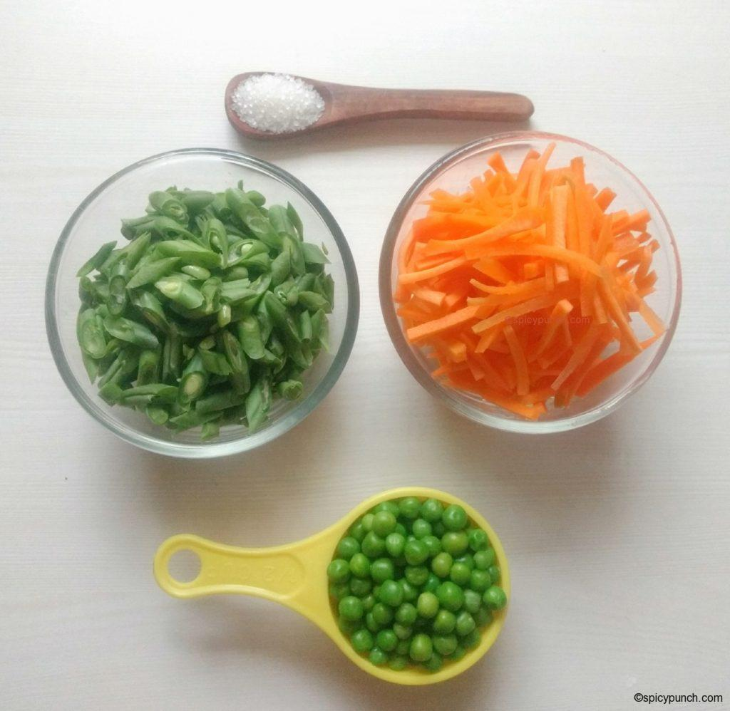 ingredients for boiling veggies of Bengali white pulao