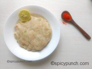 minced chicken dough with lemon and red chilli powder
