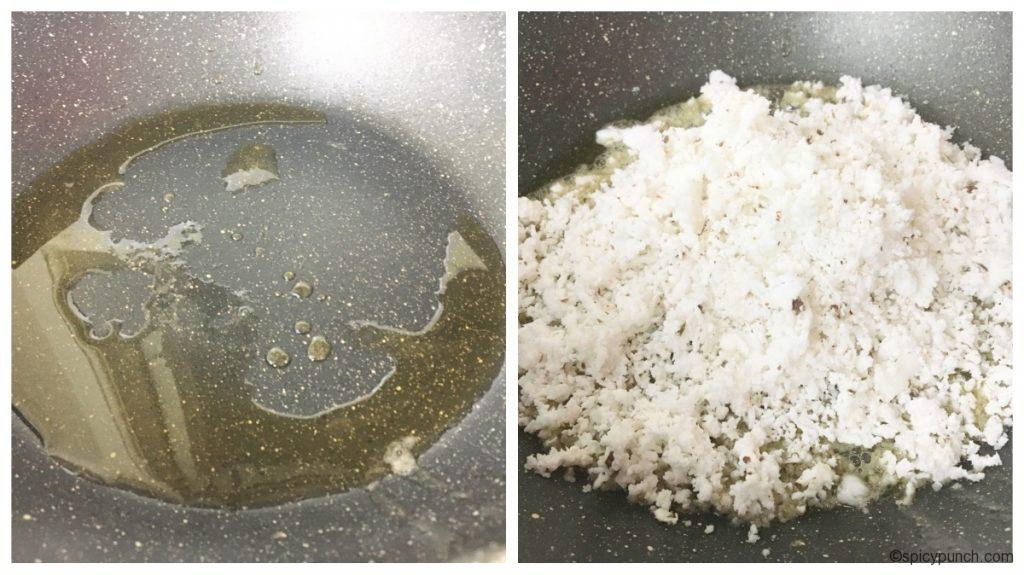 grated coconut is in the pan with ghee