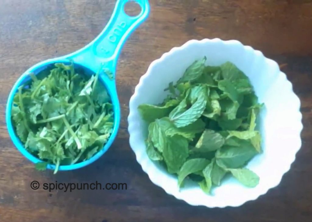 coriander and mint leaves for making this sauce